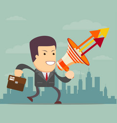 running businessman with a megaphone vector image
