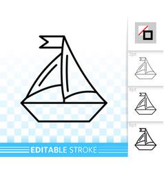 sailing ship simple black line icon vector image