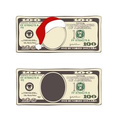 Set 100 dollar christmas bill one hundred vector