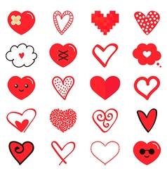 Set collection of various red hearts vector