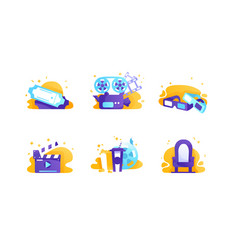 set icons with cinema tickets chair food movie vector image