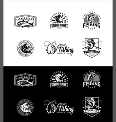 set isolated icons fishing fisherman club logo vector image