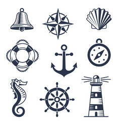 set marine maritime or nautical icons vector image