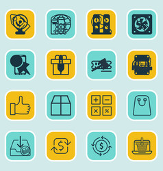 Set of 16 ecommerce icons includes finance vector