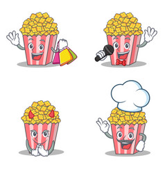 set of popcorn character with shopping karaoke vector image