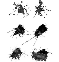 Set of six brush strokes with spray in gray vector