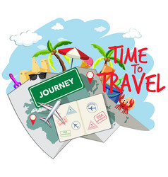 set of travel element vector image