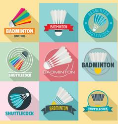 shuttlecock logo set flat style vector image