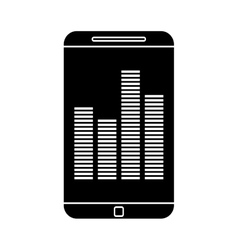 Silhouette smartphone screen equalizer music vector