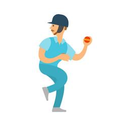 sportsman cricket player in helmet throwing ball vector image