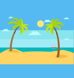 Summer beach landscape with blue sea hot sand sky vector