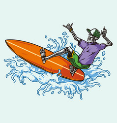 surfing vintage colorful concept vector image