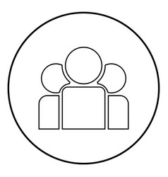 team people icon black color in circle round vector image
