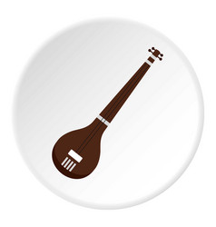 Traditional indian sarod icon circle vector