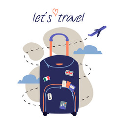 Travel and trip concept flat design with bag and vector
