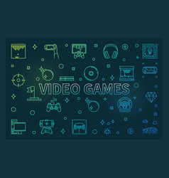 video games colored linear banner or vector image