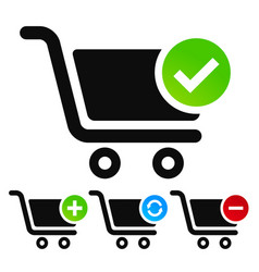 Webshop shopping cart symbols vector