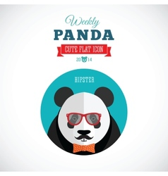 weekly panda cute flat animal icon - hipster vector image
