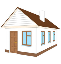 White house with brown door vector