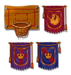 wicker basket ball flags with symbols vector image