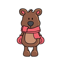 Winter bear with scarf and gloves vector image