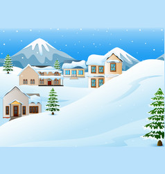 winter landscape with mount vector image