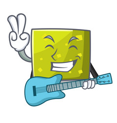 with guitar square mascot cartoon style vector image