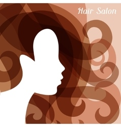Woman silhouette with curly hair on bacground for vector