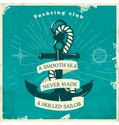 Yachting Club Vintage Style Poster vector image