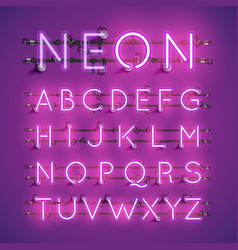 yellow realistic neon character set with wires vector image