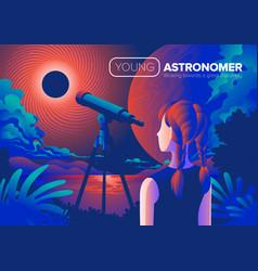 Young astronomer art vector