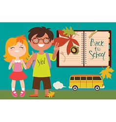 Back to school with kids and bus vector image vector image