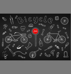 bicycle collection in doodle stylehand drawn vector image vector image