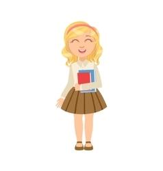 Girl in brown skirt holding books happy schoolkid vector