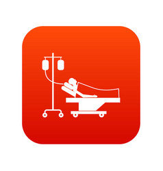 patient in bed on a drip icon digital red vector image vector image