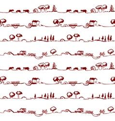 pattern with rural line landscape vector image vector image