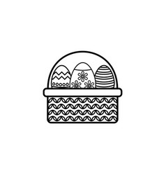easter eggs in basket line icon religion holiday vector image vector image