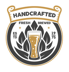 handcrafted beer brewery retro sign vector image vector image