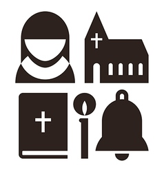 Nun church bible candle and bell icons vector image