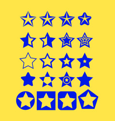 pentagonal five point blue star collection on vector image vector image