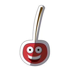 red kawaii happy cherry icon vector image