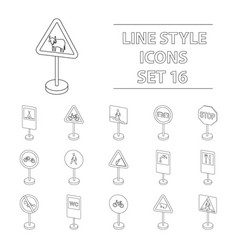 transportation set icons in outline style big vector image vector image