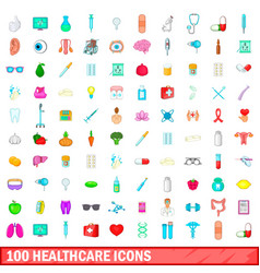 100 healthcare icons set cartoon style vector image