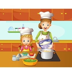 A mother and daughter cooking vector image vector image