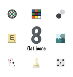 flat icon play set of jigsaw chequer ace and vector image