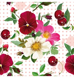 seamless pattern of the roses the pansies and the vector image vector image