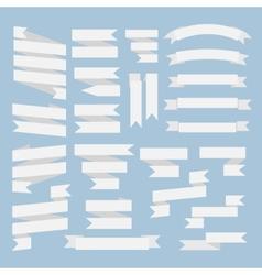 White ribbons set vector image
