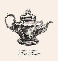 hand drawn sketch teapot vector image