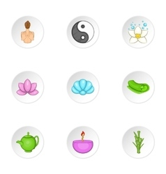 Relaxation icons set cartoon style vector