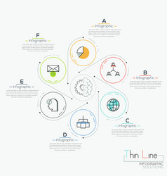 Six round elements with icons vector